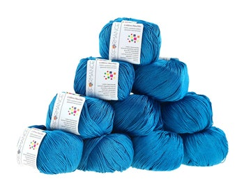 10 x 50 g knitting wool cotton, marble, #128 blue