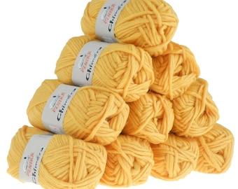 10 x 50 g wool CHIMERA #422 Sun yellow, wool for knitting felting
