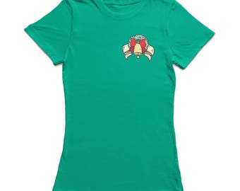 Pocket Christmas Wreath And Bell  Women's Kelly Green T-shirt