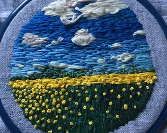 "Prairie Landscape 5"" hoop  hand embroideried with canola field, embroidery hoop, fiberart, wallart, pretty, big sky, customizable"