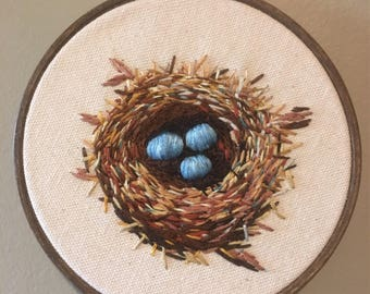 Embroidery hoop Nest & Turquoise Eggs Embroidery Hoopart hand embroidered, handmade wallart fiberartspring birds farmhouse nature modern
