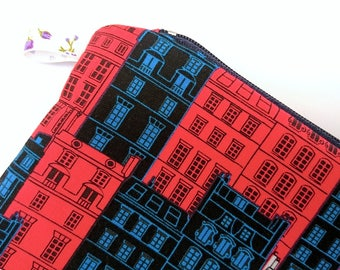 Medium pencil case, British pencil case, British zipper pouch, red white blue pouch, pencil pouch, blue gift, red gift