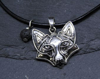 Norse Fox Necklace with a Volcanic Lava Bead, Viking Fox Necklace, Fox Jewelry, Fox Pendant, Norse, Viking, Men Jewelry, Gift for Him