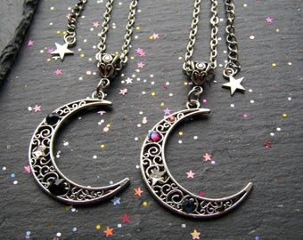 Moon Crescent Necklace with Crystals, Moon Crescent Necklace, Moon Jewelry, Whimsical, Large Moon Necklace, Celestial Necklace, Moon Pendant