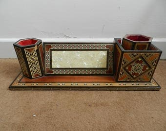 Vintage Desk Letter Stand Tidy with Marquetry Inlay