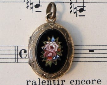 Antique Art Nouveau Italian Micro Mosaic Locket with black onyx and flower c.1900