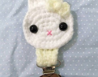 Pacifier Leash/Clip - Crochet Pastel Yellow/Cream With Bunny (dd/lg, md/lg, cg/l)