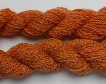 2 skein of handspun, natural dyed handspun wool yarn