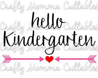 Hello Kindergarten SVG file // Kindergarten SVG // First Day of School Cut File // Silhouette File // Cutting File // Little Sis SVG file