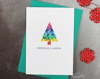 Nadolig Llawen Tree | Welsh Christmas Cards | Merry Christmas | Cymraeg | Pack of Christmas Cards