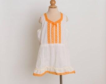 vintage 70s creamsicle girls slip dress