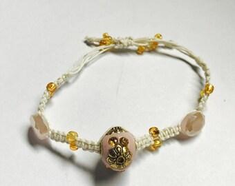 Pale Pink & Gold Hemp Adjustable Bracelet