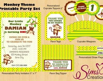 Monkey Birthday Printable, Monkey Party Decoration, Monkey Invitation, Monkey Party Printable, Monkey Cupcake Toppers, Monkey Party Set
