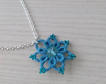 Teal flower necklace