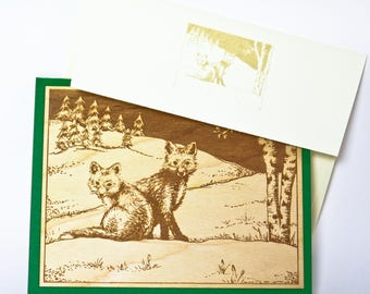 Foxes- Laser Engraved Wood Veneer Card