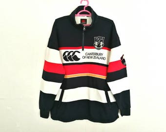 Rare!! Vintage Canterbury Of New Zealand Spellout Embroidery Striped Half Zipper Sweatshirt