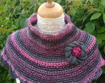 Boho Chunky Crochet Cowl, Neckwarmer, Collar with flower embellishment