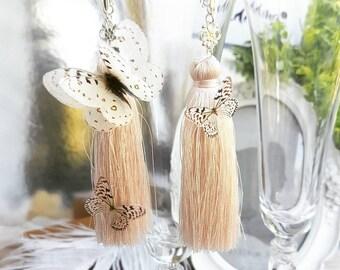 wedding earrings butterfly bridal earrings ivory Dangle earrings Long ivory earrings long tassel earrings butterfly earrings ivory earring