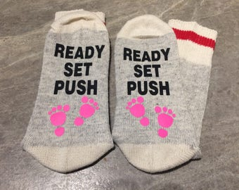 Ready Set Push (Socks) with Baby Feet in Pink or Blue