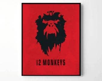 12 Monkeys tv series, 12 twelve monkeys army movie, 12 monkeys poster, jennifer goines sketch, gifts for him, virus cult, barrel of monkeys