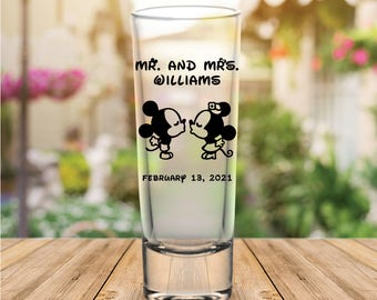 Custom Classic Disney Themed Tall Wedding Favor Shot Glasses