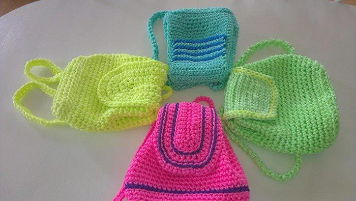 Pink Knitted Backpack Crochet Bag Rope Bag Market Bag Crhochet