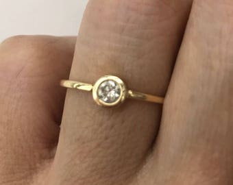 Single diamond ring, .20 Carat bezel setting in 18k solid gold, valentines gift, engagement ring, promisary ring.