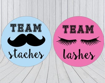 Team lashes, team staches stickers, Gender reveal stickers, Team pink, Team blue, he or she, pink or blue, Gender reveal party, 213