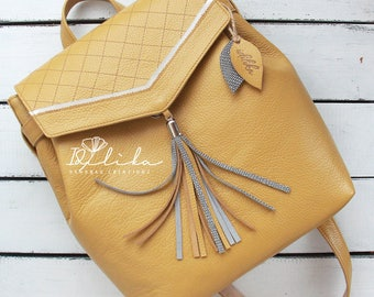 Leather backpack leather rucksack backpack women backpack womens backpack leather bag backpack women backpack purse rucksack yellow