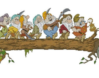 7 gnomes. Cross Stitch Pattern PDF Instant Download. 7 gnomes Cross Stitch, cross-ctitch 7 gnomes, 7 gnomes embroidery, gnomes pattern