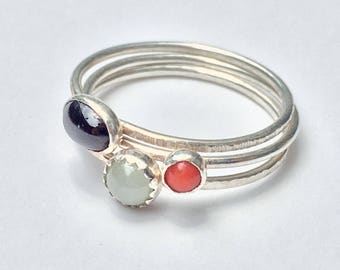 Sterling Silver Stackable Rings with Gemstones