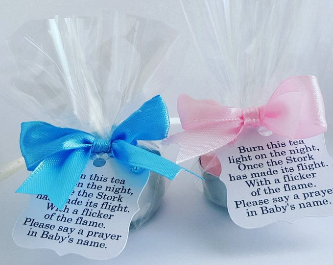 Baby shower tealight candle favours with poem tag.