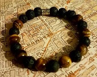 Lava stone and Tiger eye bead bracelet