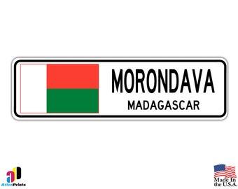 Morondava, Madagascar Street Sign Malagasy Flag City Country Road Wall Gift