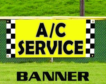 AC Service Here Banner Sign Automotive Mechanical Repair Technicians