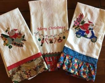 Festive Embroidered Christmas Kitchen Towel Set