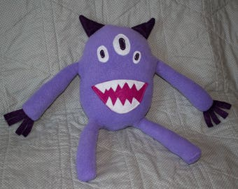 3 Eyed Purple Happy Monster