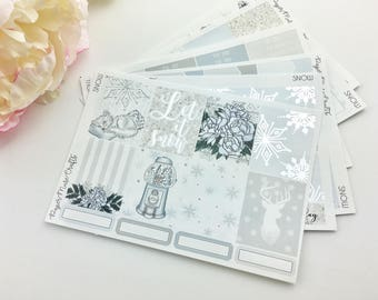Snow Weekly Sticker Kit   Silver Foiled Planner Stickers   Erin Condren Vertical