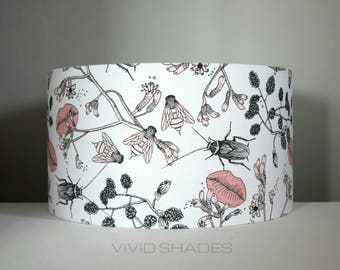 Lampshade Scandi fabric, up to 45cm sizes handmade by vivid shades, bees beetles insect lips drum ceiling Scandinavian funky