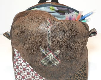 Backpack child aged Leather Brown guitar diligently and double cotton print