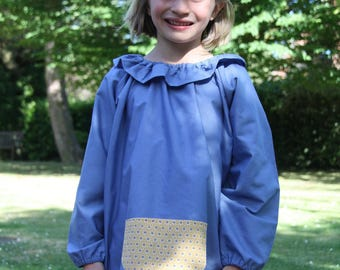 School girl Blue 10 blouse/blouse. Mustard graphic pocket. With collar