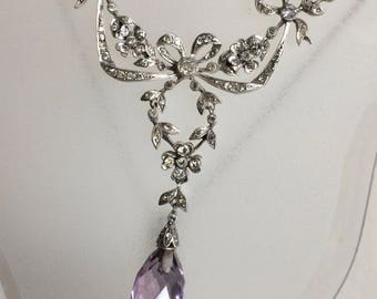 925 Silver diamante Amethyst Edwardian Style Necklace. H.M.A? F.W.H? Signed.Amethyst Faceted Drop