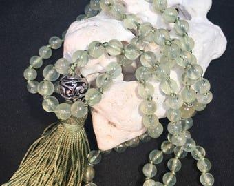 Prehnite Green 6mm Round Crystal Gematone Bead Hand Knotted Silk Mala, Tassel Mala, Yoga Necklace, 108 Prayer Beads, I Am Healed, Heal