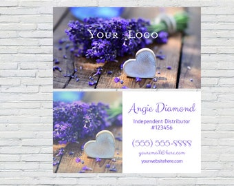 Lavender Business Card | Essential Oil | Heart | Independent Distributor | Digital File | Printable | YL | Wellness Advocate | Personalized