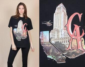 Vintage California T Shirt - XL // 90s Map Shirt LA SF Graphic Tee