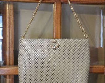 Whiting and Davis Beige Metal Mesh Bag