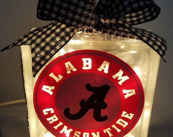 Alabama Crimson Tide Lighted Glass Block