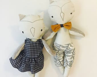 Doll OWL stuffed animal toy baby and child