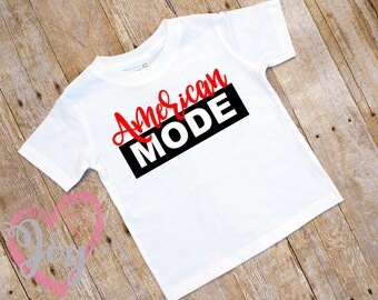 """COUPON SALE """"American Mode"""" Girl T-shirt, Infant, Toddler and Preschooler Sizes, Soft Fine Jersey, 4th of July,  Independence Day"""
