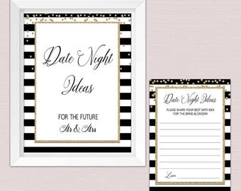 Date night ideas bridal shower, date night ideas printables Card Sign, Bridal Shower Game,black and gold elegant INSTANT DOWNLOAD pdf BL1